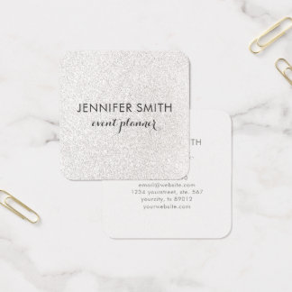 Silver Faux Glitter Elegant Professional Square Business Card