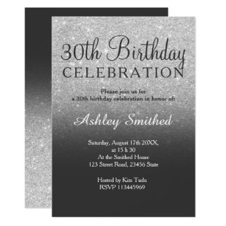 Silver faux glitter grey ombre 30th birthday card
