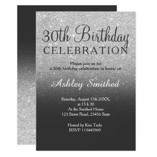 Silver faux glitter grey ombre 30th birthday card