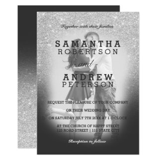 SIlver faux glitter grey ombre photo wedding Card