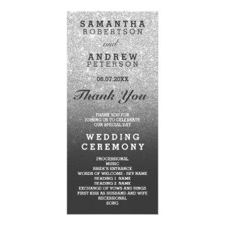 SIlver faux glitter grey ombre wedding program Rack Card