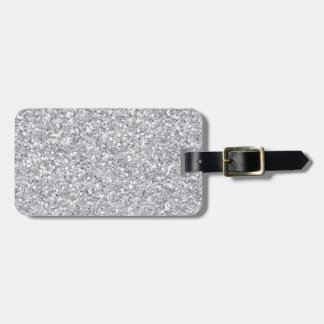 Silver Faux Glitter Luggage Tag