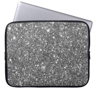 Silver Faux Glitter Modern Girly Pattern Laptop Sleeve