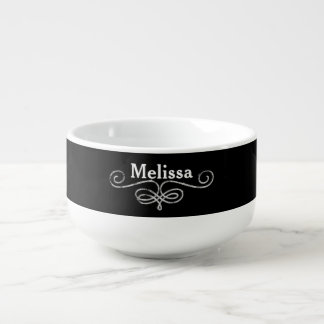 Silver Faux Glitter on black background Soup Mug