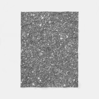 Silver Faux Glitter Pattern Girly Fleece Blanket