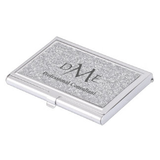 Silver Faux Glitter Professional Monogram Business Card Cases