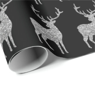 silver faux glitter reindeer wrapping paper