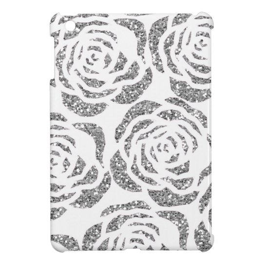 Silver Faux Glitter Roses Custom iPad Mini Case