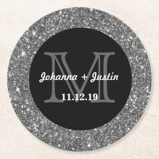 Silver Faux Glitter Shining Bling Wedding Monogram Round Paper Coaster