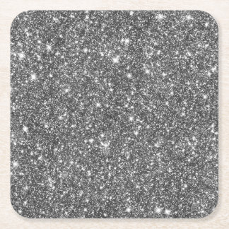Silver Faux Glitter Shining Pattern Bling Square Paper Coaster