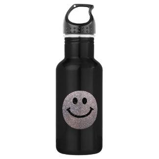Silver faux glitter smiley face 532 ml water bottle