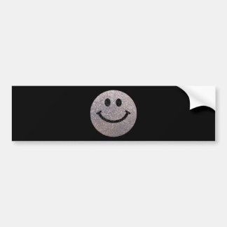 Silver faux glitter smiley face bumper sticker