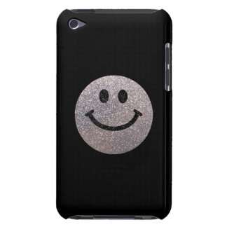 Silver faux glitter smiley face Case-Mate iPod touch case