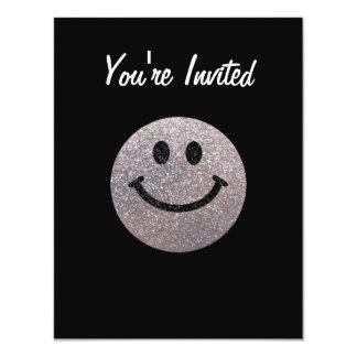 Silver faux glitter smiley face custom invitation
