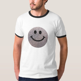 Silver faux glitter smiley face T-Shirt