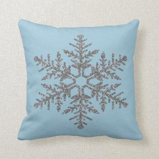 Silver Faux Glitter Snowflake Cushion