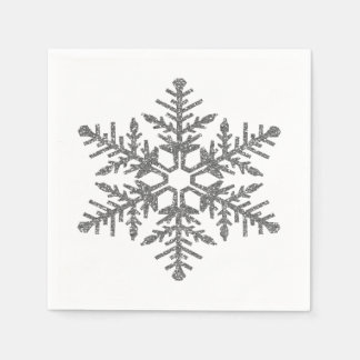 Silver Faux Glitter Snowflake Disposable Serviettes