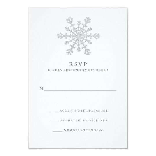 Silver Faux Glitter Snowflake Wedding RSVP Card