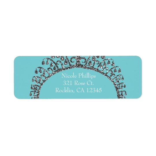 Silver Faux Glitter Tiara Crown Party Invitation