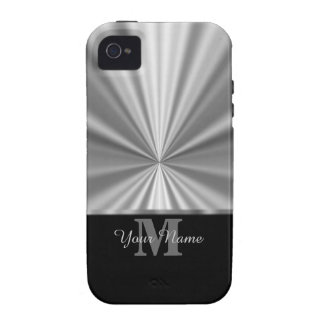 Silver faux metallic and black monogram iPhone 4 case
