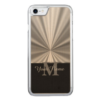 Silver faux metallic black monogram carved iPhone 8/7 case