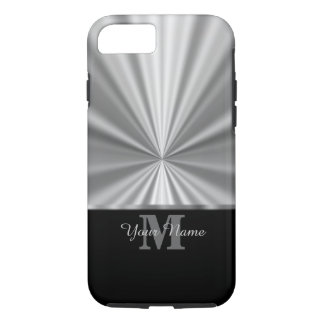 Silver faux metallic black monogram iPhone 7 case