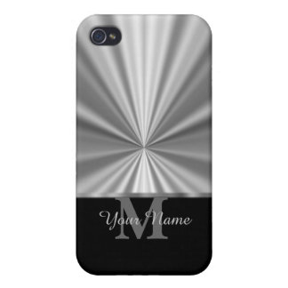 Silver faux metallic black monogram iPhone 4/4S cover