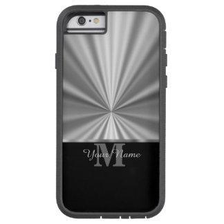 Silver faux metallic black monogram tough xtreme iPhone 6 case