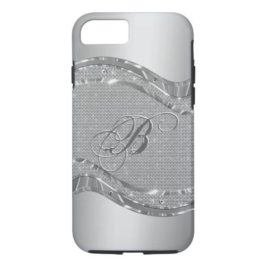 Silver Faux Metallic Look With Diamonds Pattern 2 iPhone 7 Case