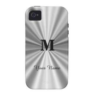 Silver faux metallic monogrammed case for the iPhone 4