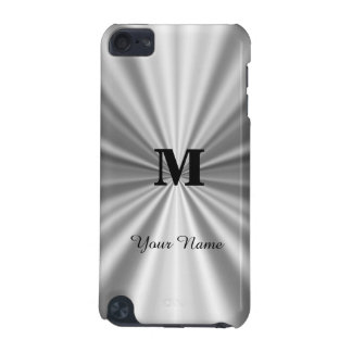 Silver faux metallic monogrammed iPod touch (5th generation) covers