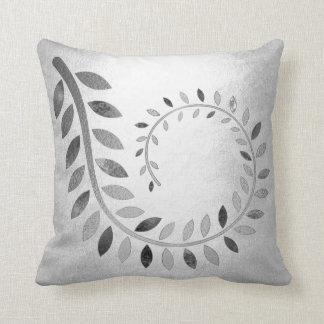 Silver Felice Leaf Gray Monochrom Botanical Throw Pillow