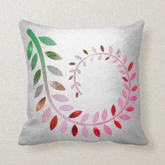 Silver Felice Leaf Gray Pink Green Botanical Throw Pillow