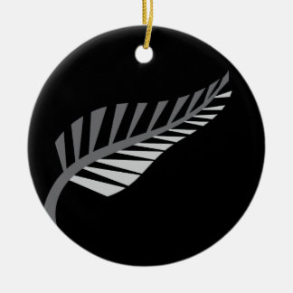 Silver Fern Awesome New Zealand image Round Ceramic Decoration