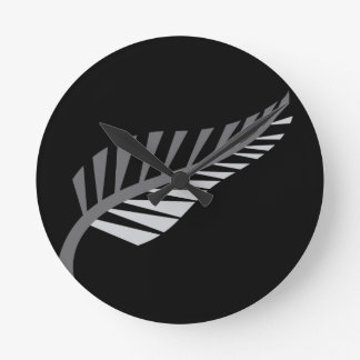 Silver Fern Awesome New Zealand image Round Clock