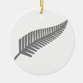 Silver Fern of New Zealand Round Ceramic Decoration