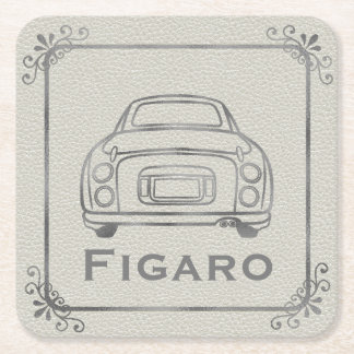 Silver Figaro Car Line Art Customisable Coaster