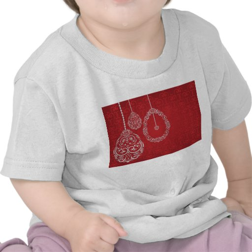 Silver filigree eggs on red tee shirts
