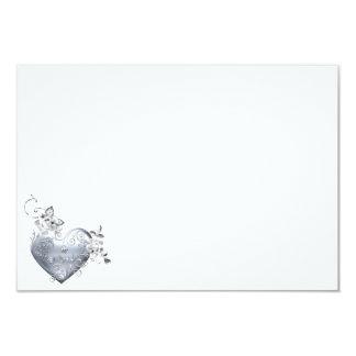 Silver Filigree Heart & White Roses 9 Cm X 13 Cm Invitation Card