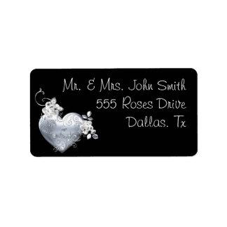 Silver Filigree Heart & White Roses Address Label