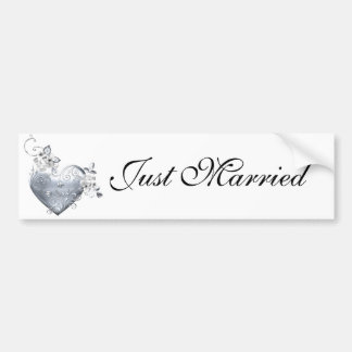 Silver Filigree Heart & White Roses Bumper Sticker
