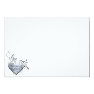 Silver Filigree Heart & White Roses Card
