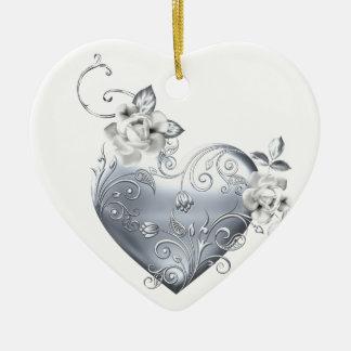 Silver Filigree Heart & White Roses Ceramic Heart Decoration