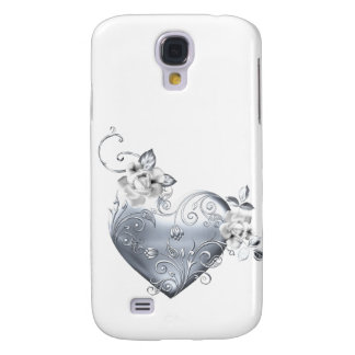 Silver Filigree Heart White Roses Galaxy S4 Covers