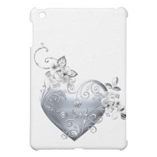 Silver Filigree Heart White Roses Cover For The iPad Mini