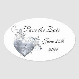 Silver Filigree Heart & White Roses Oval Sticker