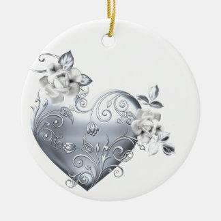 Silver Filigree Heart & White Roses Round Ceramic Decoration