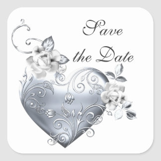 Silver Filigree Heart & White Roses Square Sticker