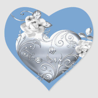 Silver Filigree Heart & White Roses Heart Sticker