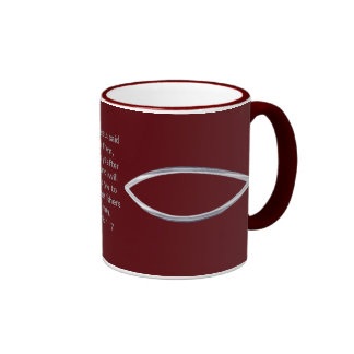 Silver Fish and scripture cover this mug...